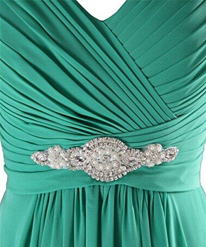Abendkleider Damen mit Gelb 1609 Festkleider Brautjungfernkleid Chiffon LuckyShe Strasssteine Lang xBgRqS