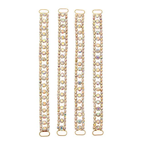 Rhinestone Buckle - 4pcs Rhinestone Buckles Gold Plated Bikini Connectors Crystal Belt Buckle Garment Bags Shoes - Sash For Invitations Gold Round Crafts Button Pin Ballerina Sandals ()