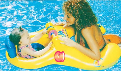 MAZIMARK-Inflatable Mother Baby Swimming Ring with Seat Floaties Swim Pool Float Toy by MAZIMARK