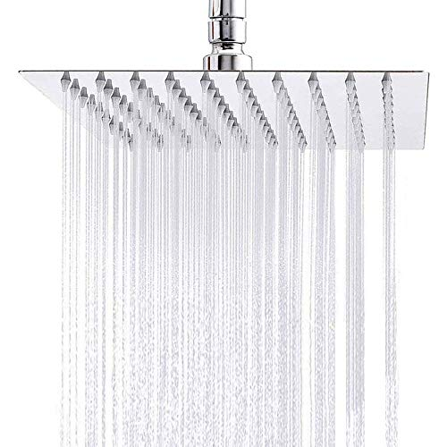 YOULIAN Solid Square Ultra-Thin Rain Shower Head High Pressure with Polish Chrome 304 Stainless Steel 10Inch 360°Adjustable,Silicone Nozzle Easy to Clean and Install