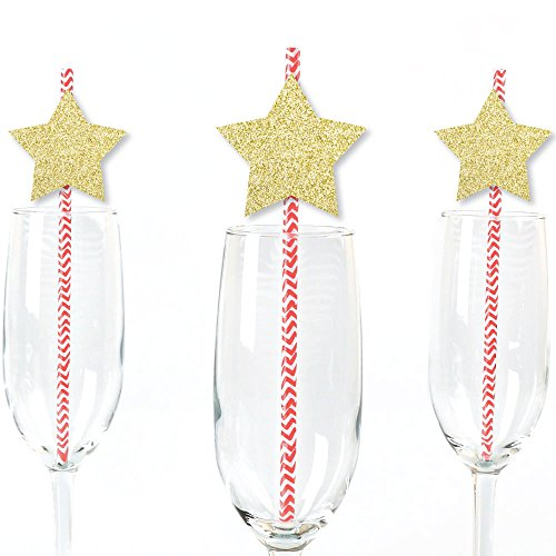 (Gold Glitter Star Party Straws - No-Mess Real Gold Glitter Cut-Outs & Decorative Star Party Paper Straws - Set of 24)