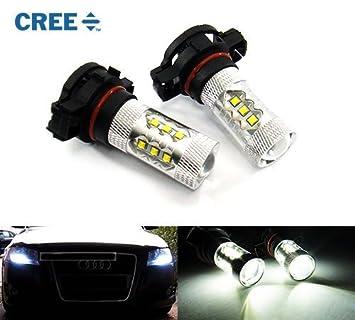 2 x H16 ps19 W 5202 PSX24 W bombilla Cree LED 80 W luz diurna luz DRL blanco A3 A6: Amazon.es: Coche y moto