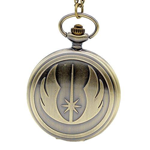 Fashion Jedi Order Quartz Pocket Watch Necklace Chain Pendant Mens Womensjewelry Bronze
