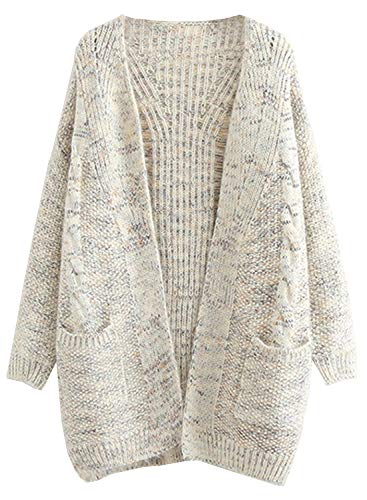 (Doballa Women's Boyfriend Open Front Long Sleeve Cable Knit Aran Twisted Cardigan Sweaters Coat With Pockets (XL, Confetti Beige))