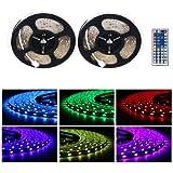 LED Strip Kasos 10m 5050 RGB Streifen 300 SMD 16 Farben mit 44-Tasten Fernbedienung, Wasserdicht