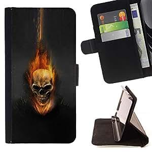 For Samsung ALPHA G850 Case , Cráneo Flam Oscuro- la tarjeta de Crédito Slots PU Funda de cuero Monedero caso cubierta de piel