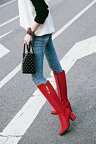 a e di e autunno Sandalette in fibre Red stivali gli alto tubo DEDE gli tubo la in alti stivali punta alto stivali moda ricco spessi tacchi stivali inverno donne wqHqzt