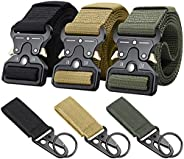 Ginwee 3-Pack Tactical Belt,Military Style Belt, Riggers Belts for Men, Heavy-Duty Quick-Release Metal Buckle