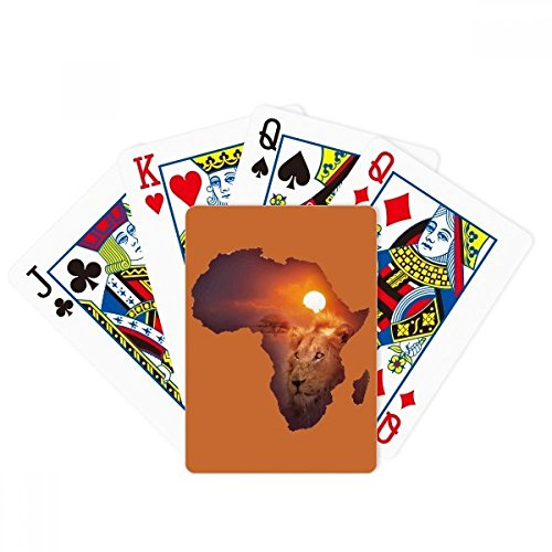 beatChong Lion Prairie African Continent Name Map Poker Playing Card Tabletop Board Game Gift by beatChong