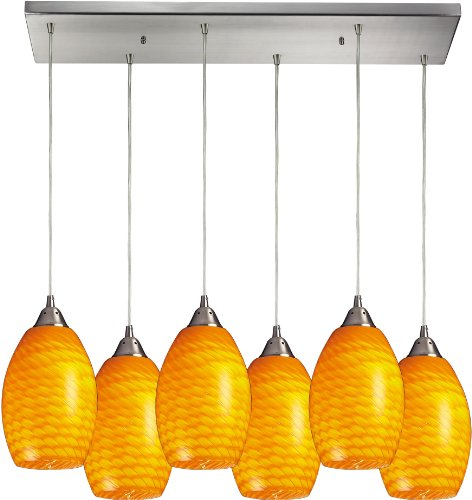 Elk 517-6RC-CN 30 by 9-Inch Mulinello 6-Light Pendant with Canary Glass Shade, Satin Nickel Finish - Mulinello 6 Light