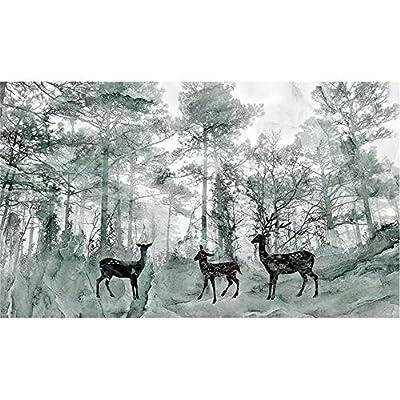 Z@SS Sfondi Murales per Soggiorno Camera da Letto Soggiorno Divano TV Sfondo Vintage Elk Woods Murales Decorazione murale,416cm*254cm