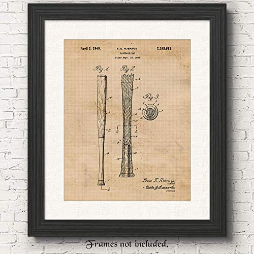 Original Baseball Bat Patent Art Poster Prints- Set of 1 (One 11x14) Unframed Vintage Style Photo- Great Wall Art Decor Gifts Under $15 for Player-Fan-Coach-Teacher, Man Cave, Garage, Home, Office