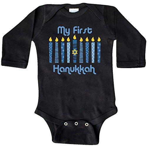 inktastic - 1st Hanukkah Candles Long Sleeve Creeper 6 Months Black ()
