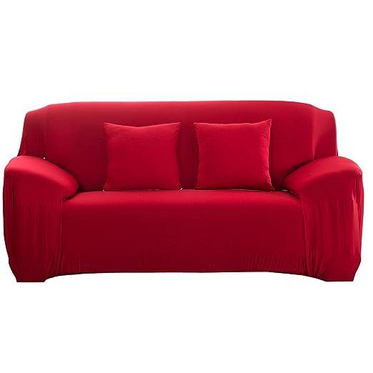 Funda de sofá elástica Antideslizante Funda de sofá elástica de Tejido elástico extraíble Cubierta de sofá/Dos/Tres/Cuatro plazas Rojo(2 Seater ...