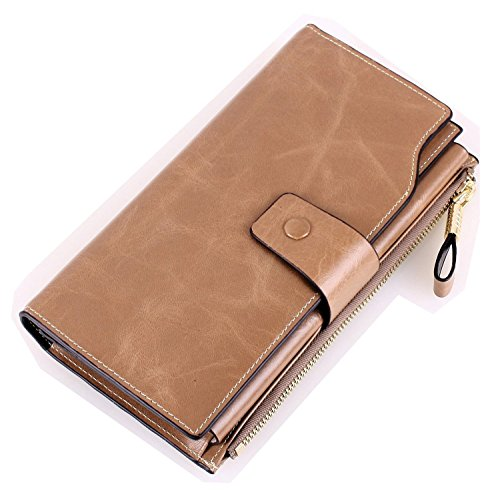 Grebago Women's Genuine Leather Wallet Long Zipper Clutch Wallets Purse Case clip Handbag Cracker Khaki