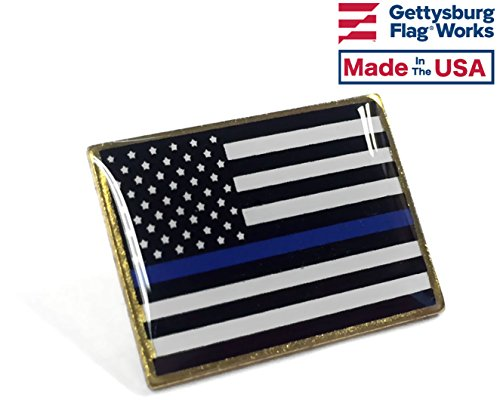 Thin Blue Line Lapel Pin, Police Support Pin, Made in USA Blue Usa Pin