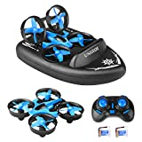 UNIROI 3 in 1 Mini RC Drone Support Remote Control Car / Boat / Quadcopter Mode with 360° Flips Stunt One Key Return Headless Mode and 2 Speed Modes for Kids Toys Gifts (USB Charging) H36F