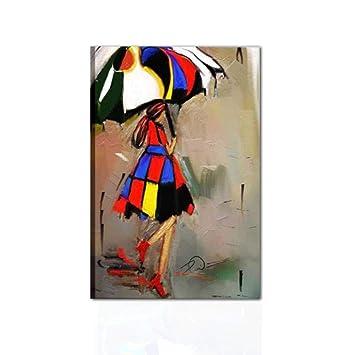 Cuadros Modernos Mujer con paraguas pintados a mano sobre lienzo listo para colgar Casa Salón Oficina