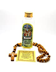 Holy Land Olive Wood Rosary Beads from Jerusalem Jesus Crucifix with Jordan River Water 100 Ml. Scented Lightly with Biblical Essences of Flowers from The Holy Land