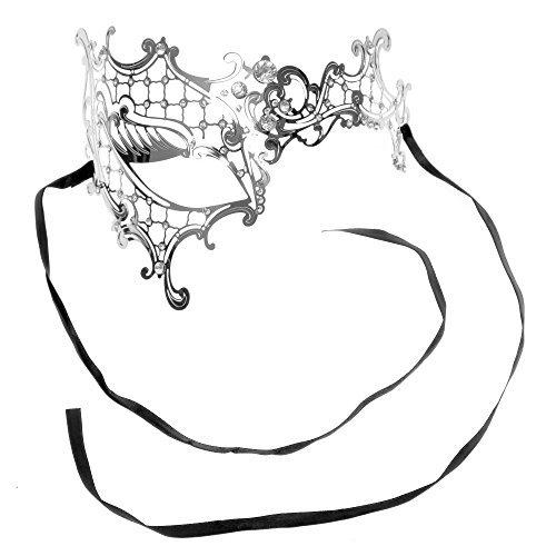 Plus Half Mask (LMK Venetian Masquerade Phantom Mask with Silver Swarovki,)
