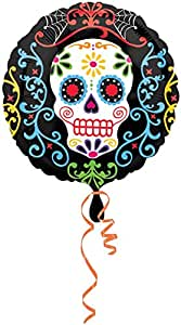 "1 x Day Of The Dead Skull Foil Balloon 18""/45 cm"