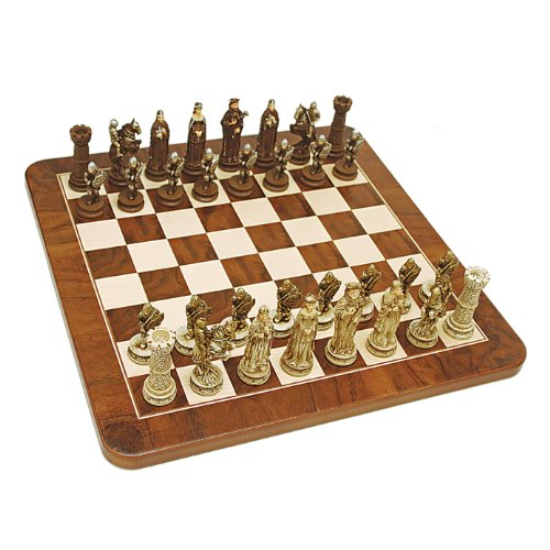 WE Games Medieval Chess Set - Handpainted Pieces & Walnut Root Board 17 in. - Renaissance Corner Table