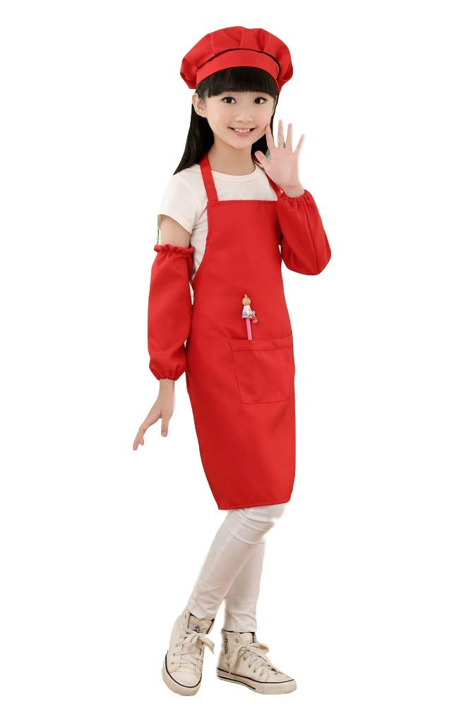 Kids Apron Baking Painting Playing Apron Hat Sleeves 3 Pieces Set Unisex (M, Claret) Capital Home