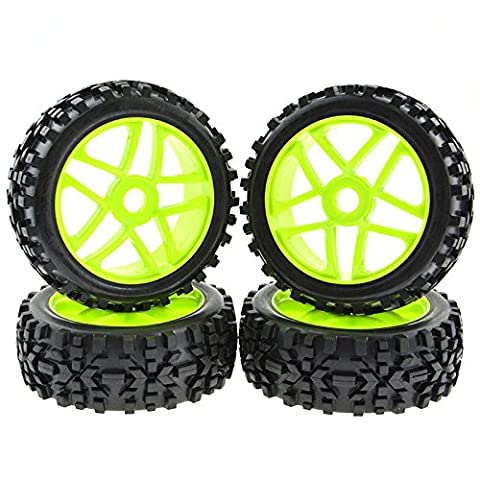 Rowiz 4PCS 1:8 RC Tires 17mm Hub Wheel Rims Pentagram for 1/8 Scale Off-Road Buggy Green - 1/8 Buggy