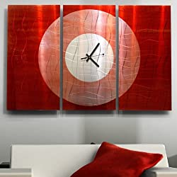 Large Hand-Crafted Modern Red and Silver Metal Wall Clock - Functional Abstract Contemporary Home Office Decor Sculpture Art - Crimson Moon by Jon Allen - 38-inch