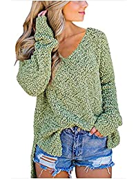 Kelove Women's Fashion Winter Fuzzy Popcorn Sweater V Neck Long Sleeves Loose Fit Sweatshirt Solid Tops Pullover