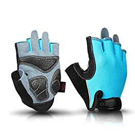 OZERO Bike Cycling Gloves Shockproof Gel Pads and Extra Grip Leather Palm – Half Finger Glove for Road Bike…