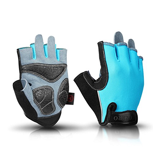 (OZERO Fingerless Gloves Breathable Deerskin Leather Palm and Shockproof Gel Pads, Half Finger Glove for Road Cycling/Mountain Bike/Weight Lifting/Gym/Motorcycle Riding, Fit for Men and Women Blue XL)