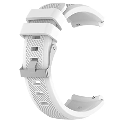 Goodfeng Soft Silicone Wristband Strap Replacemend for ZTE Quartz ZW10 Smart Watch for Mens Women Wristband Strap (White L)