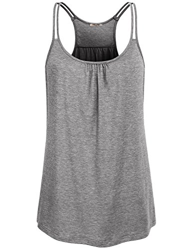 Hibelle Sleeveless Tank, Feminine Athleisure Wear for Women Summer Yoga Tops Sports Shirts Scoop Neck Curved Hem Dressy Ribbed Racerback Slim Fit Fast Dry Essential Cami Grey Small