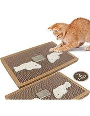 Nobleza - 2 * 3* Katzenkratzbrett mit Sisal Spiel Kätzchenkratzer Wellpappe mit kostenloser Katzenminze