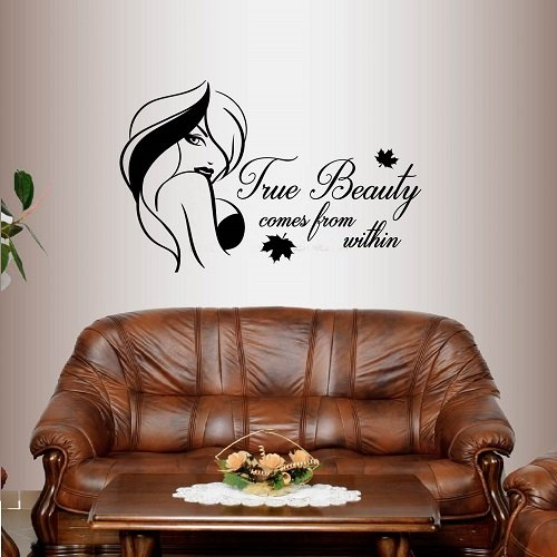 Wall Vinyl Decal Home Decor Art Sticker True Beauty Comes From Within Phrase Quote Beautiful Girl Woman Long Hair Bedroom Beauty Fashion Salon Shop Room Removable Stylish Mural Unique Design