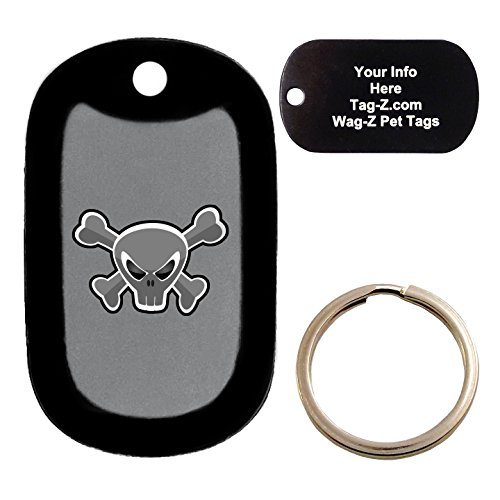 Custom Engraved Pet Tag - Mad Crossbones Skull - Gray - Dog Tag - Tag-Z Wag-Z