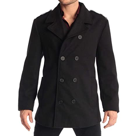Amazon Com Trench Coat For Men Long Wool Blend Slim Fit Pea Jacket