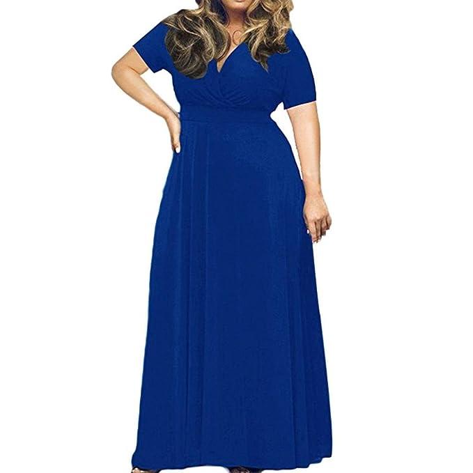 Longra Plus Size Abbigliamento Da Donna Abito Manica Corta Tinta Unita Abito  Da Sera Profondo V d6c41ffe1fe