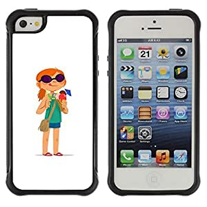 Be-Star Unique Pattern Anti-Skid Hybrid Impact Shockproof Case Cover For Apple iPhone 5 / iPhone 5S ( Redhead Girl Adventure White Cartoon ) Kimberly Kurzendoerfer
