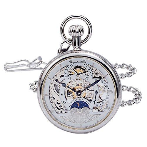 Regent Hills Vintage Silver Open Face Brass Case Skeleton Pocket Watch with Chain 9441CP-IWW22 ()
