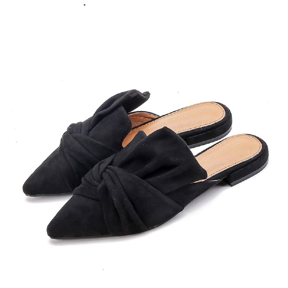 Qiusa Ballerines Backless Noir, Femmes Bout Pointu Faux Suede Slip EU Slip on Chaussures (coloré : Noir, Taille : EU 39) Noir 30c82f1 - shopssong.space