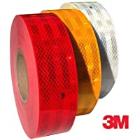 SIGNAGE 3m High Intensity Reflective ECE 104 Compliant Government Approved Tape 2 inch x 2 Ft White, Red and Yellow, Pack of 3 Strips or Rolls
