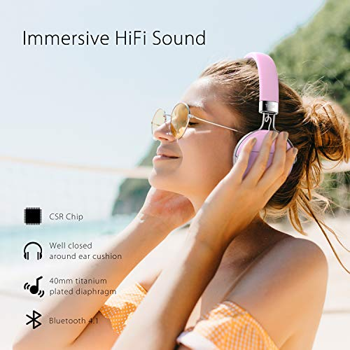 Tribit Xfree Move Bluetooth Headphones pink with MIC