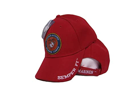 Embroidered USMC Marines Marine Shadow Red Semper Fi Emblem Baseball Hat Cap