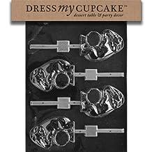 Dress My Cupcake DMCA048SET Chocolate Candy Mold, Elephant on A Drum Lollipop, Set of 6