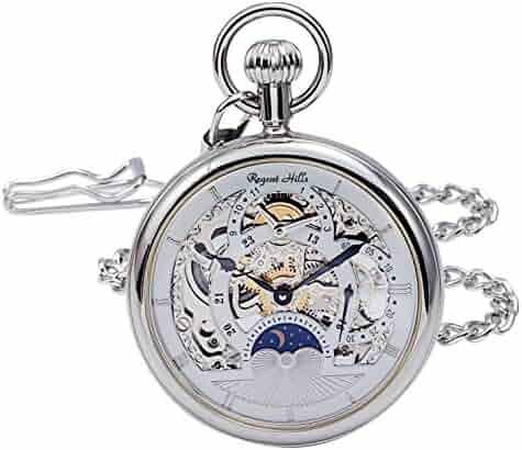 Regent Hills Vintage Silver Open Face Brass Case Skeleton Pocket Watch with Chain 9441CP-IWW22