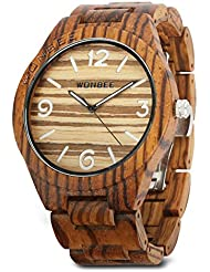 WONBEE Wooden Watch for Men/Women-Handmade Wood Watches-Wood Watchband-Wood Bezel-Luminous Display-Zebra Wood-ARABTOON...