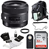Sigma 30 mm f/1.4 Art Lens for Canon w/ Backpack Accessory Bundle