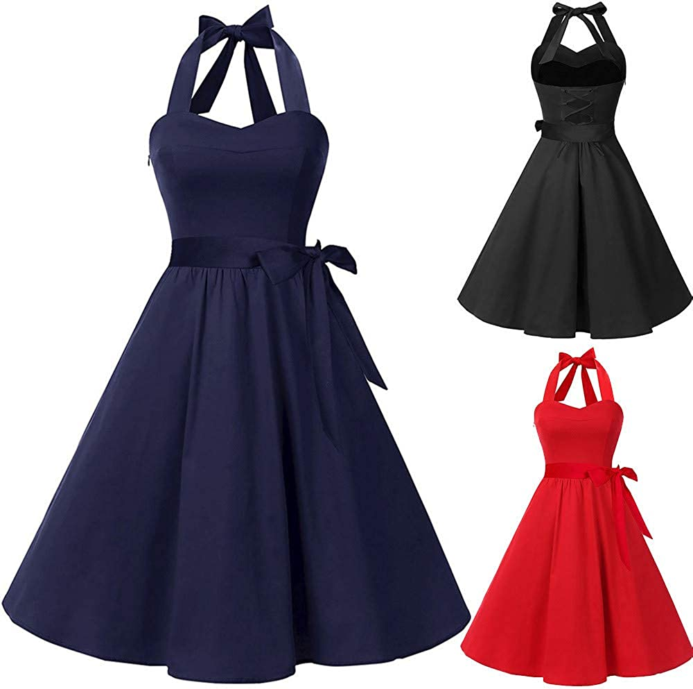 Malbaba Plus Size Vintage Flowy Dress Lace Waisted Tied Dresses 1950s Retro Party Cocktail Evening Dresses
